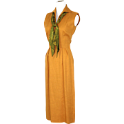 NOS Vintage 50s/60s B.H.Wragge Goldenrod Moygashel Linen Dress w/Sailor Tie XS