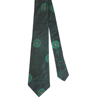 "Vintage 1960s De Carlo Dark Green ""Sharkskin"" Skinny Tie"