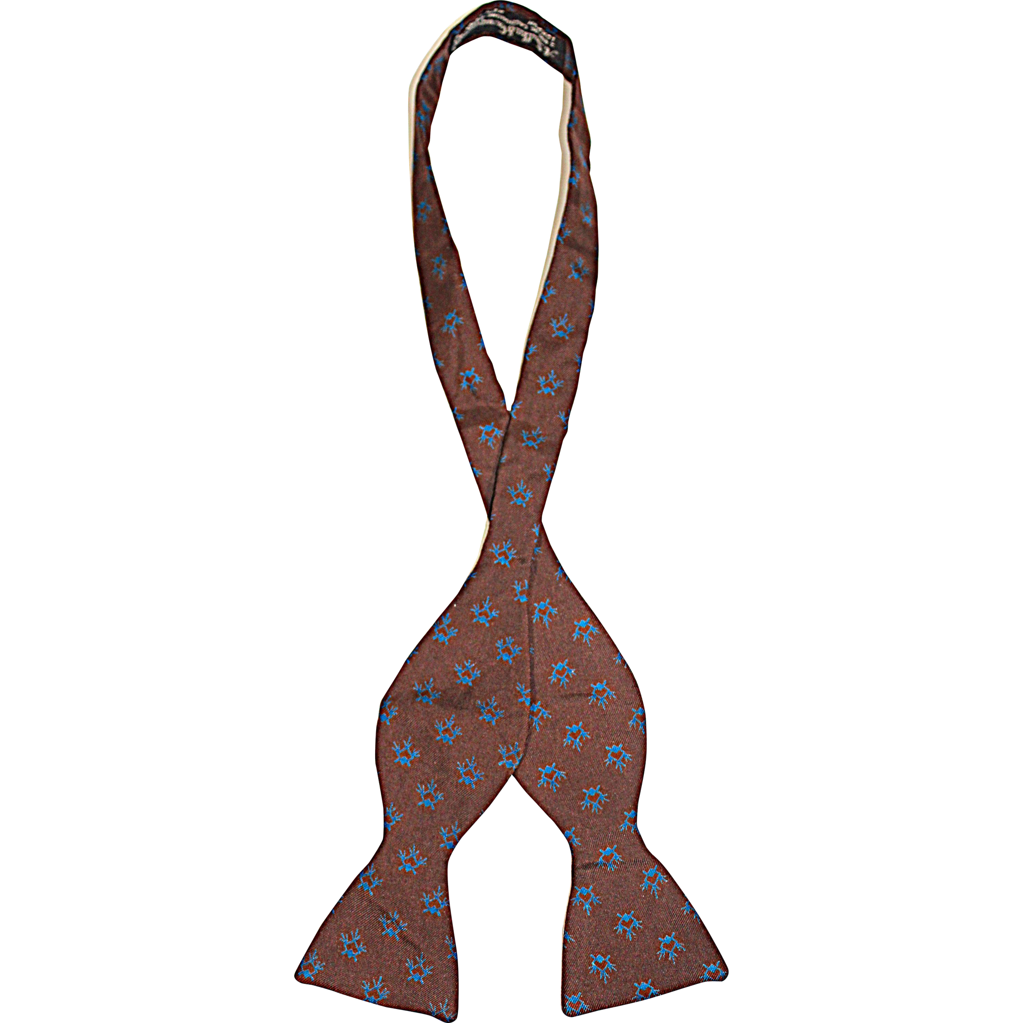 Vintage c.1940 A. Sulka & Co. Brown & Blue Silk Twill Butterfly Bow Tie