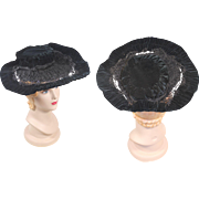 Late Victorian c. 1890 Black Velvet & Silk Hat w/French Jet Bead Trim