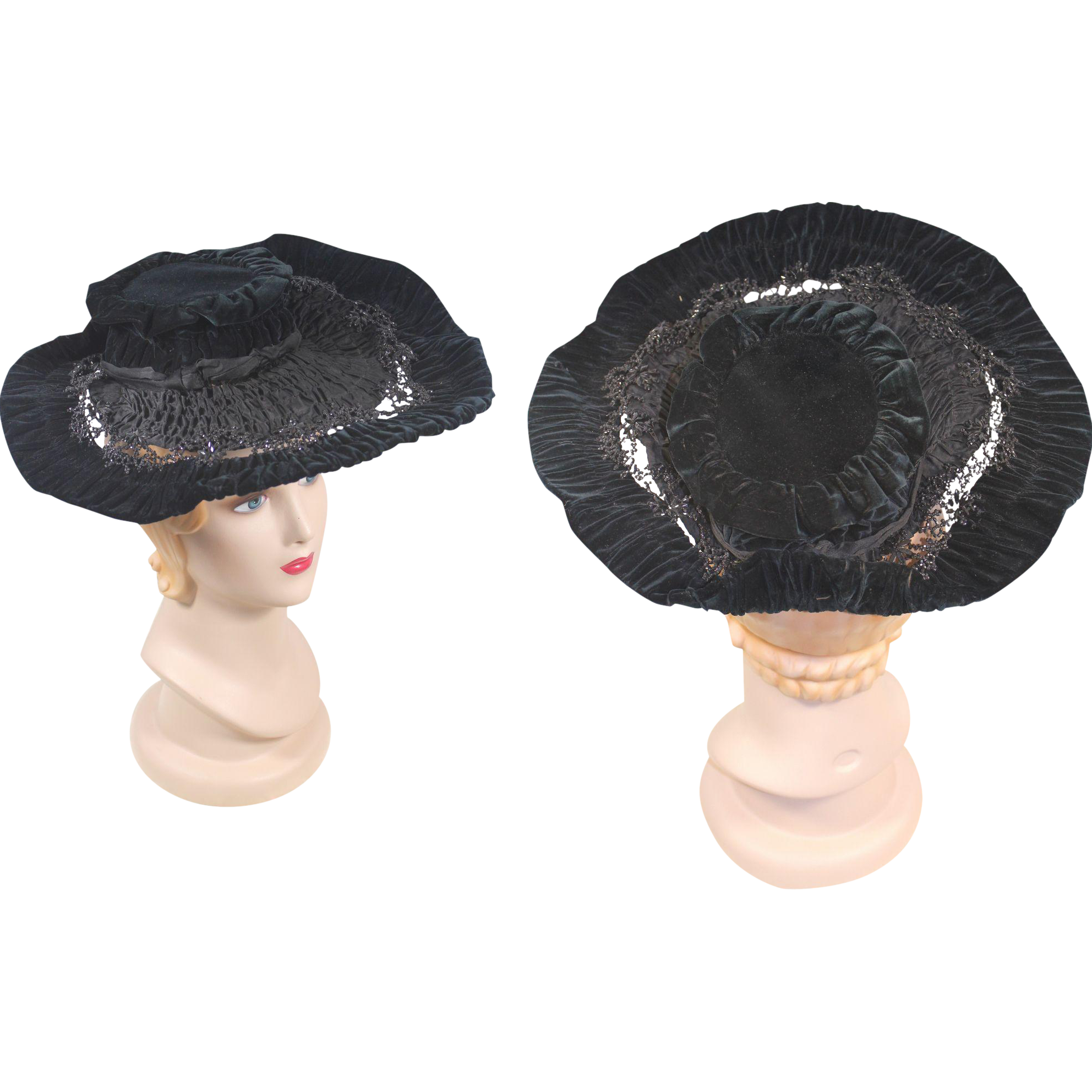 Late Victorian c. 1890 Black Velvet & Silk Hat w/French Jet Bead Trim