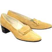 NOS Vintage 1960s Delman Honey Suede Loafers w/Chain Detail 7N