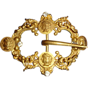Late Victorian Classical Revival Gilt Répoussé Sash or Hat Buckle