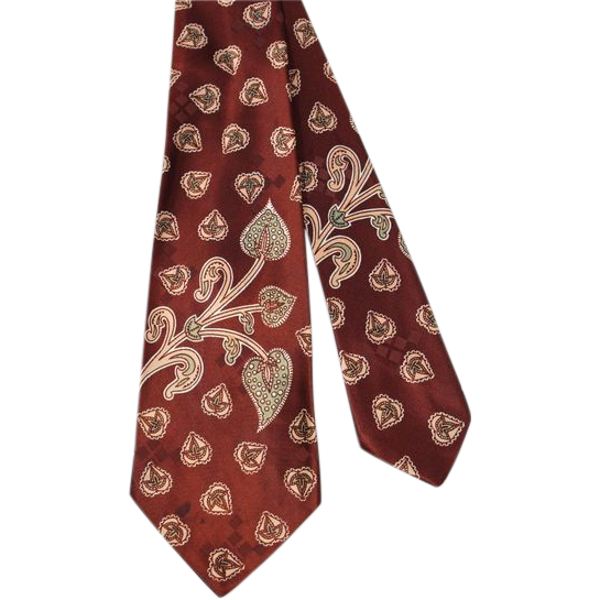 "Vintage 50s ""Paisley Motifs"" Cinnamon Brown Satin Wide Tie"