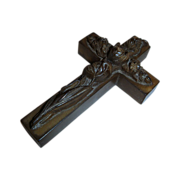 Antique Late Victorian Vulcanite Cross Pendant w/Ornate Carved Floral Design
