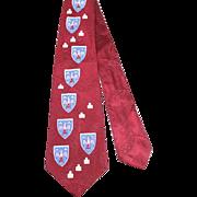 Vintage 1950s Red Fleur de Lys Print Rayon Satin Wide Tie