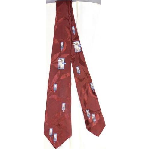 Vintage 1950s Esquire Cravat Floating Windows Satin Jacquard Necktie