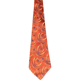 Vintage 1940s Copper Abstract Swirls Brocade Wide Tie