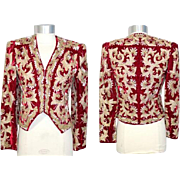 Vintage 1980s Adolfo Embellished Red Velvet Evening Jacket XS
