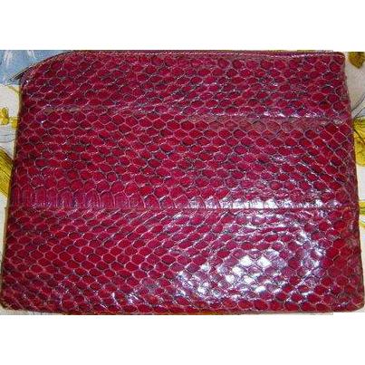 Vintage Mid-Century Koret Wine Snakeskin Clutch Purse