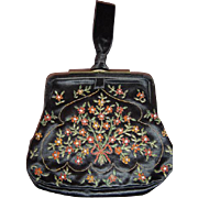 Vintage 1920s Black Satin Purse w/Floral Embroidery & Rhinestones