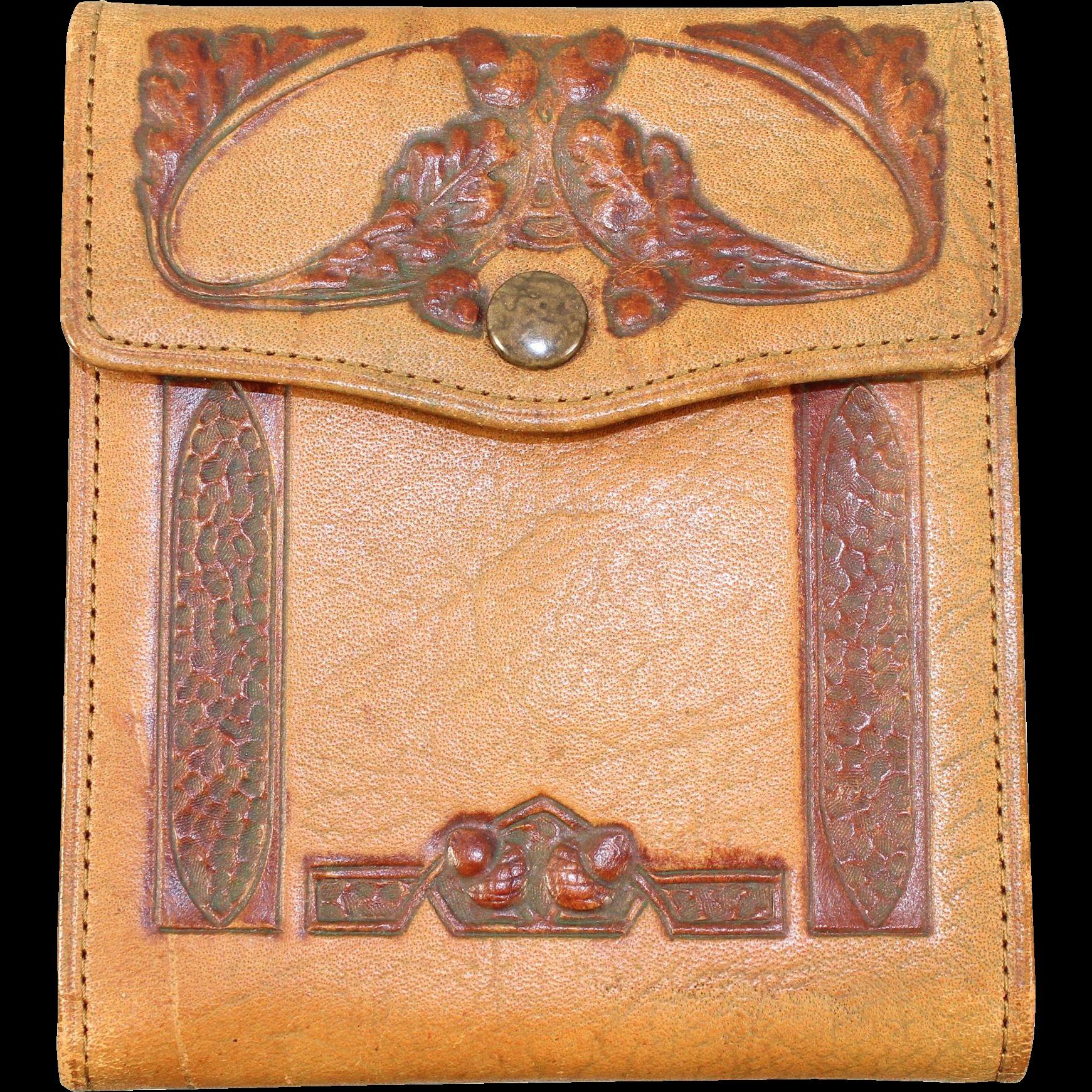 "Vintage 20s/30s Prohibition-Era Tooled Leather Wallet ""Schussler Packing Co."""