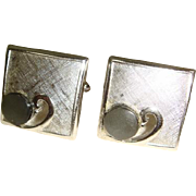 Vintage 1960s Swank Brushed Silvertone Cufflinks w/MOP Accent
