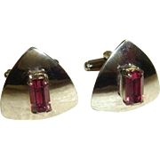 Vintage 1950s Silvertone Cuff Links w/Amethyst Glass Baguettes