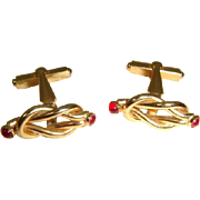Vintage 1940s Goldtone Sailor's Knot Cuff Links w/Red Stones