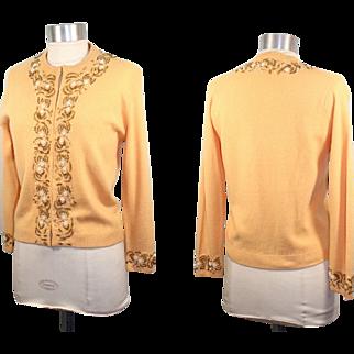 Vintage 50s/60s Harilela's Hand-Beaded Marigold Wool/Angora Cardigan XS/S