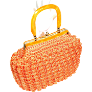 Vintage 1960s Caron of Houston Orange Crochet Raffia Handbag Purse w/ Lucite Handles