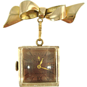 Vintage 1940s Royce Lucite Lapel Watch w/12k GF Bow Brooch