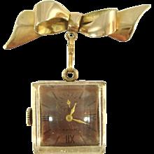 Vintage 1940s Royce Lucite Lapel Watch w/12k GF Bow Brooch