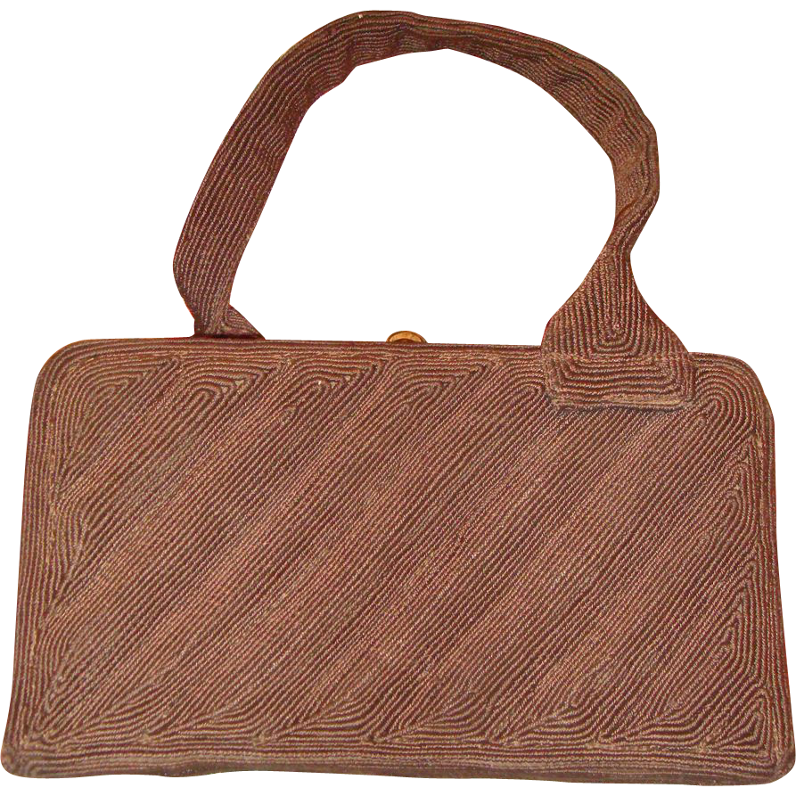Vintage 1940s LeFaye Chocolate Brown Corde Vanity Box Purse