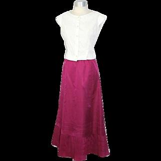 Antique 1910s Teens Skinner's Magenta Silk Petticoat