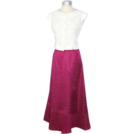 Antique 1910s Teens Skinner's Magenta Silk Petticoat