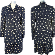 Vintage 90s Giorgio Armani Navy Seashore Print Walking Short Suit S/M