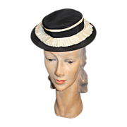 Vintage 30s/40s Martha Gene Black Satin Toy Tilt Hat w/White Ruffle Trim