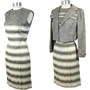 Vintage 1960s Pauline Trigere Striped Silk Twill Dress Suit XS/S