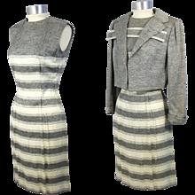 Vintage 1960s Pauline Trigere Striped Silk Twill Dress Suit XS/S