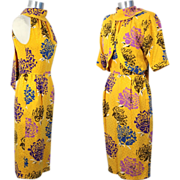 Vintage 1980s Ungaro Parallele Yellow Silk Peony Print Dress & Bolero S