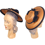 Vintage 1940s Ribbon-Trimmed Straw Poke Bonnet Hat