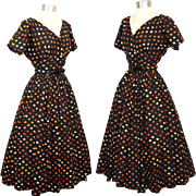 Vintage 1950s Anne Fogarty Black Harlequin Print Dress w/ Circle Skirt XS/S