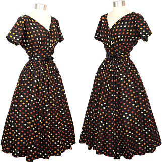 Vintage 1950s Anne Fogarty Black Harlequin Print Dress w/ Circle Skirt XS/S
