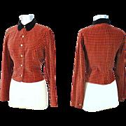Vintage 50s Carolyn Schnurer Printed Red Velveteen Jacket S/M