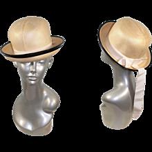 Vintage 1960s Gwenn Pennington Panama Straw Derby Hat