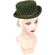 Vintage 30s/40s Green Velour Postilion or Top Hat