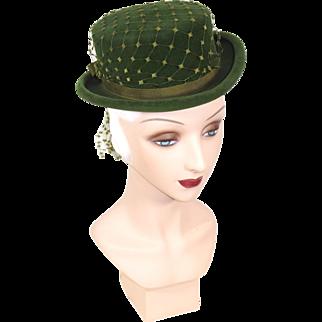 Vintage 30s/40s Green Velour Postilion or Top Hat