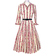 Vintage 1950s Puritan Pink Novelty Print Butterflies & Blossoms Silk Dress M - Red Tag Sale Item