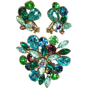 Vintage 1950s Green, Aqua & Purple Rhinestone Brooch & Earrings Demi