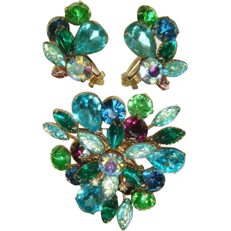 Vintage 1950s Green, Aqua & Purple Rhinestone Brooch & Earrings Demi