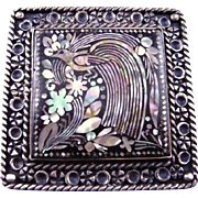 Vintage 1960s Sterling Taxco Mexico Abalone Mosaic Quetzal Brooch MCR
