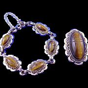 Vintage 40s/50s Atlas Tiger's Eye Scarabs & GF Bracelet/Brooch Demi-Parure