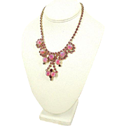 Vintage 1950s Red, Pink & Rose Givre Rhinestone Bib Necklace