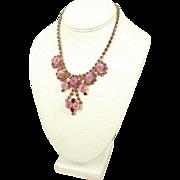 Vintage 1950s Red, Pink & Rose Givre Rhinestone Bib Necklace