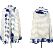 Vintage 30s/40s Hooded Chenille Beach Cape w/Navy Border XS/S