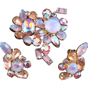 Vintage 1950s Kramer Pink & Purple Givré & AB Rhinestone Demi Parure Brooch/Earrings