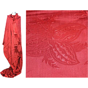Vintage 1940s Red Rayon Satin Damask Stylized Floral Fabric 5 Yds+