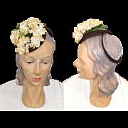 Vintage 1940s Tiny Flowered Tilt Hat