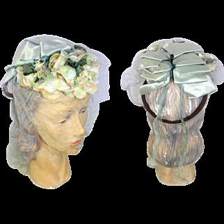 Vintage 1940s WWII Bridal Tilt Hat or Bonnet w/Blue Ribbon & Veil